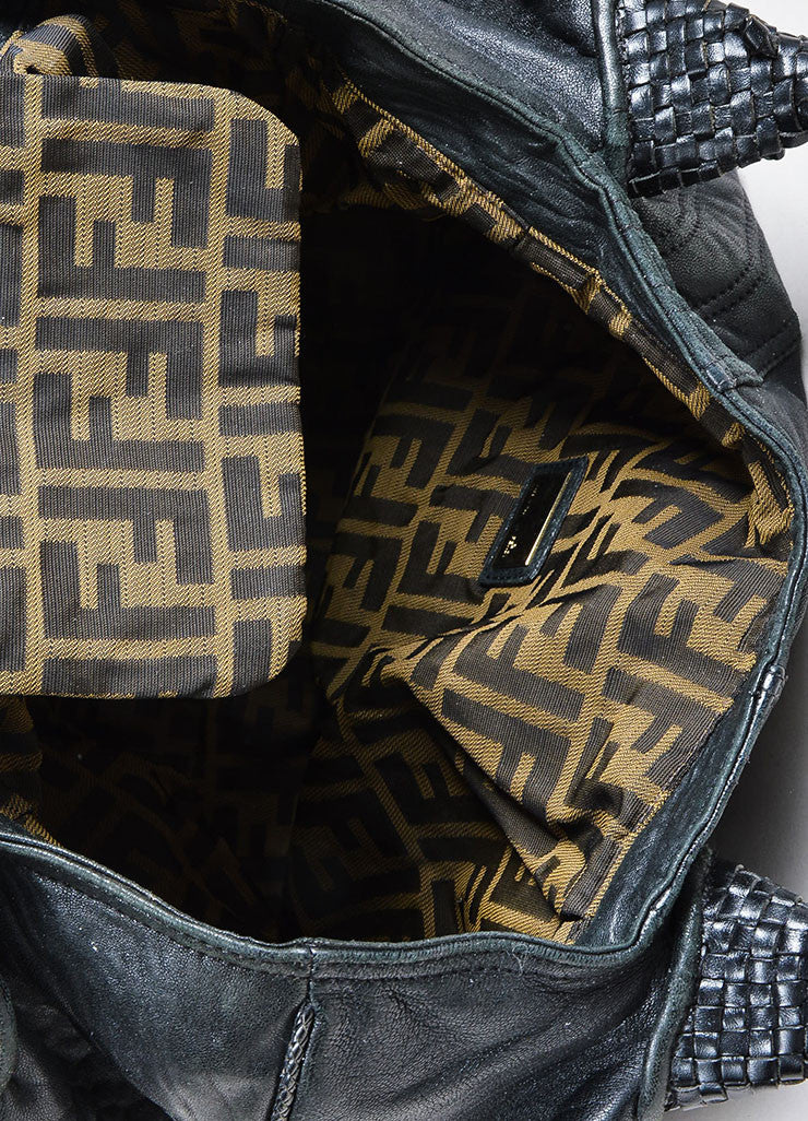 "Black and Gold Toned Fendi Leather Woven Trim ""Nappa Spy"" Bag Interior"