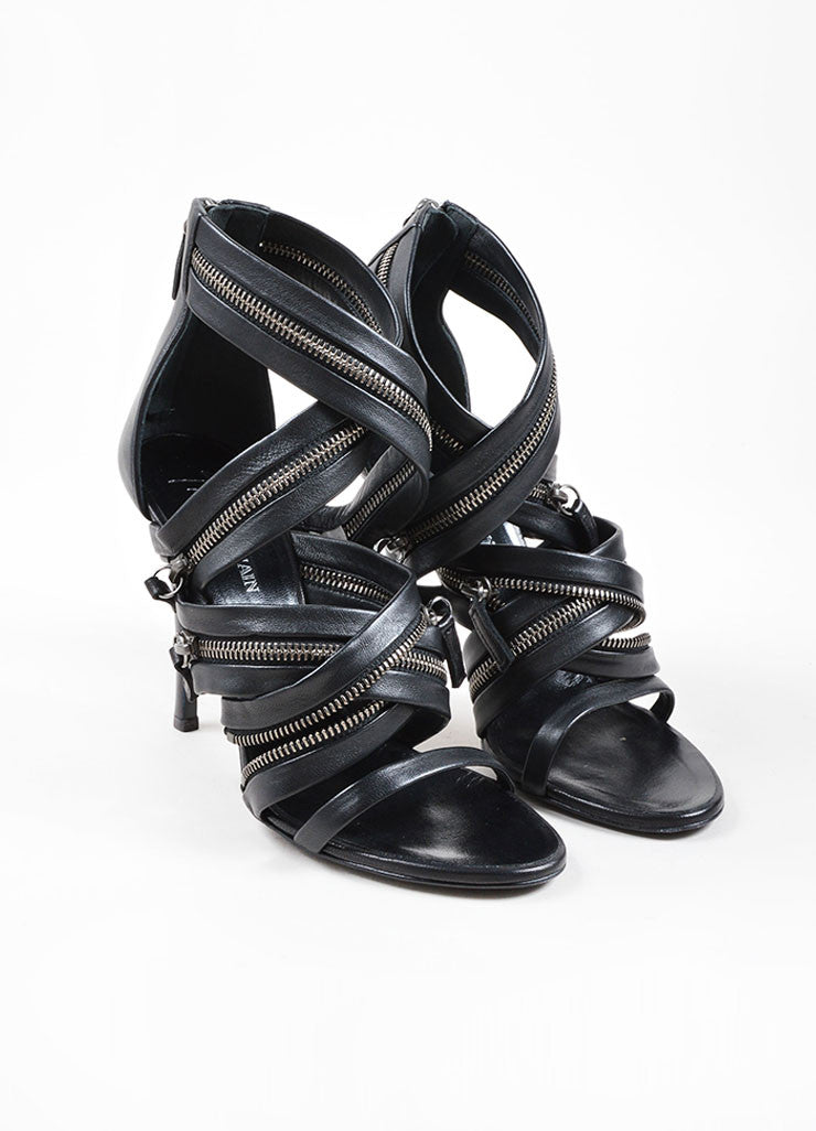 Giuseppe Zanotti for Balmain Black Leather Zipper Embellished Sandals Frontview