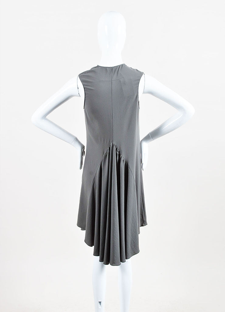 Givenchy Grey Crepe Cowl Neck Sleeveless Asymmetric Waist Pleated Dress Backview