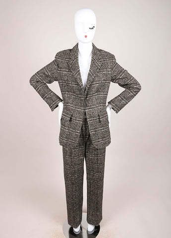 Hermes Brown and Green Cashmere, Wool, and Angora Tweed Pant Suit Frontview