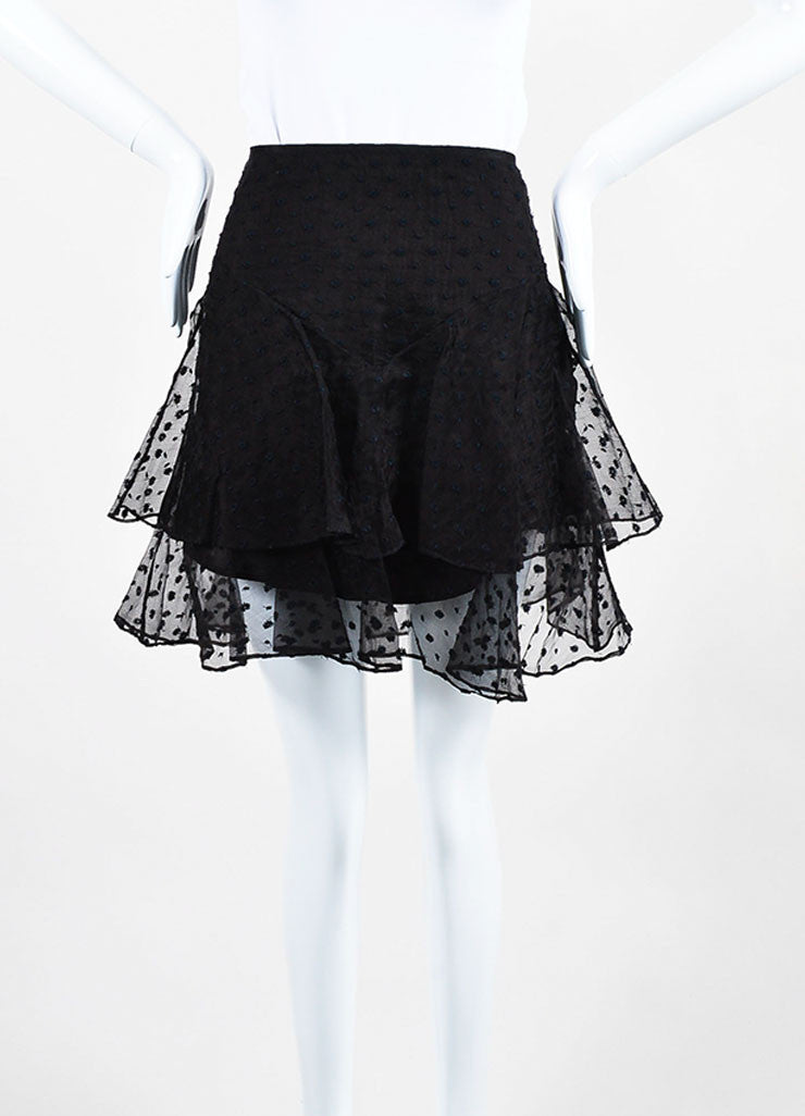 "Black Isabel Marant Silk Embroidered ""Vadim"" Tiered Ruffle Skirt Frontview"