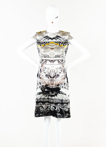 Mary Katrantzou Brown Yellow Black Print Silk Cap Sleeve Sheath Dress Front