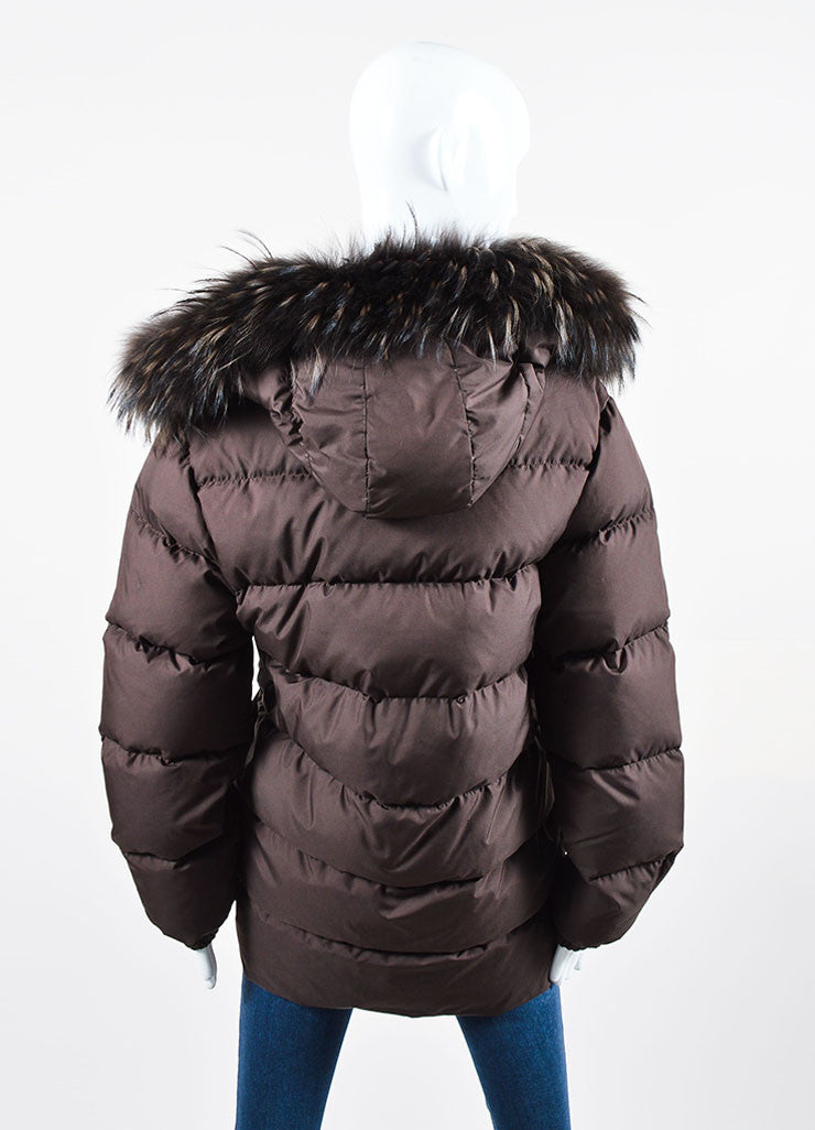Dark Brown Moncler Fur Hood Zip Down Puffer Coat Backview