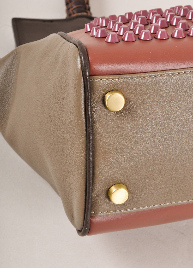 "Nada Sawaya New With Tags Brown and Purple Studded leather ""Mini Josy"" Satchel Bag Detail"