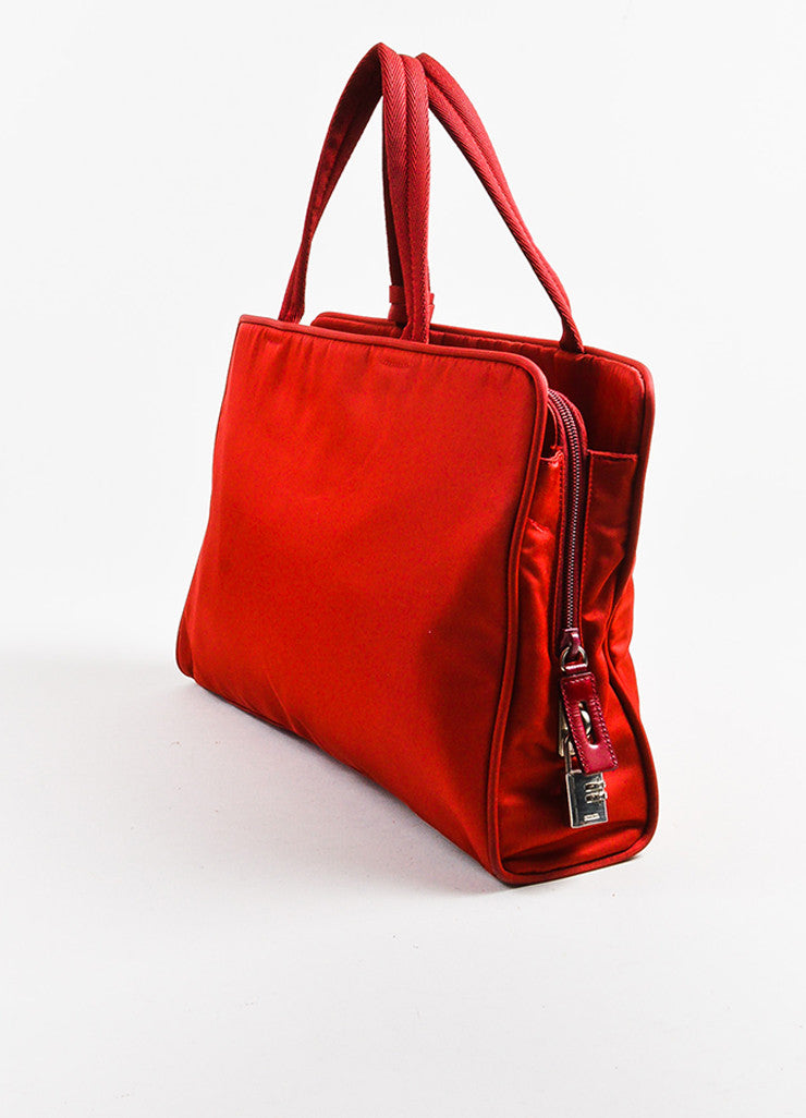 Red Prada Tessuto Nylon Three Compartment Tote Bag Back
