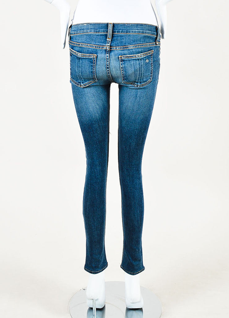 Rag & Bone Blue Distressed Wash Ripped Red Patchwork Skinny Jeans Backview
