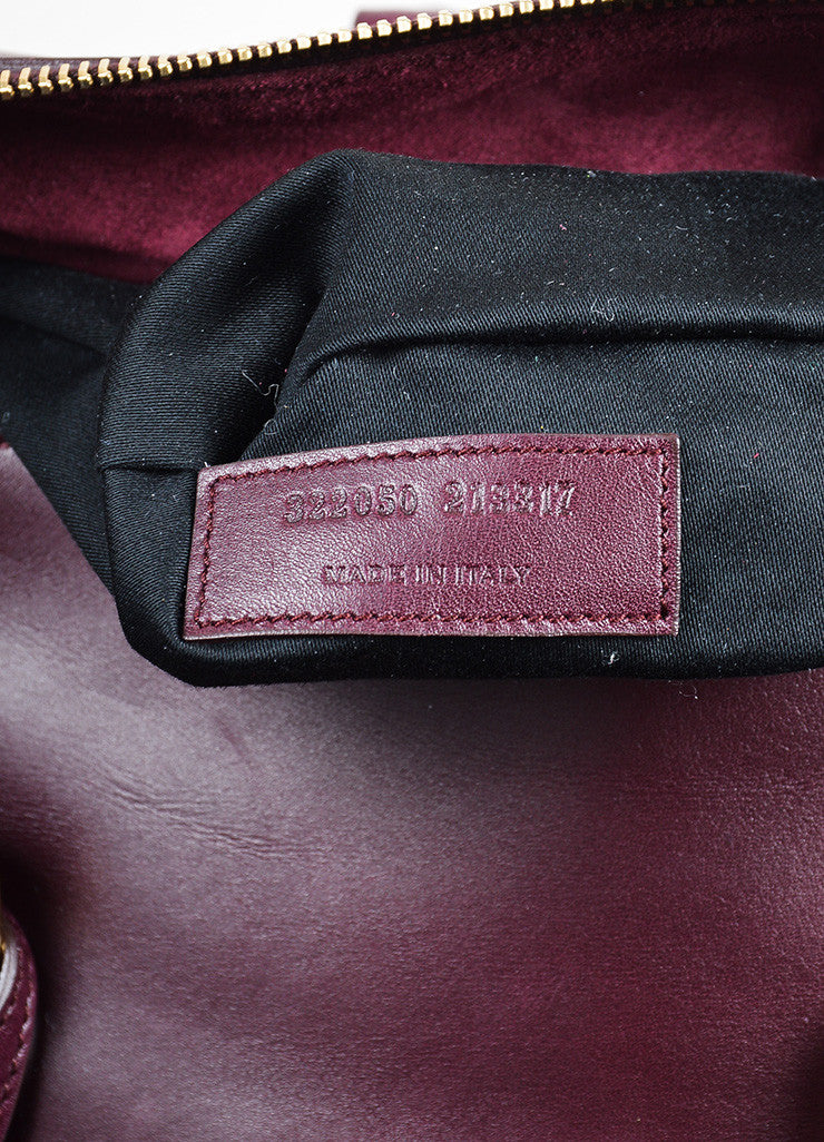 "Burgundy Leather Saint Laurent ""Classic Duffle 12"" Satchel Bag Serial"
