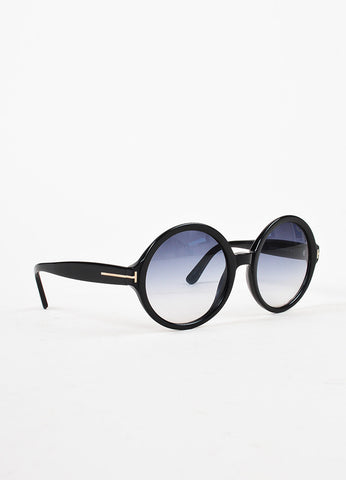 "Tom Ford Black Gradient Lens Oversized Round ""Juliet"" Sunglasses Sideview"