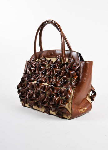 Valentino Brown Flower Embellished Tote Bag Side
