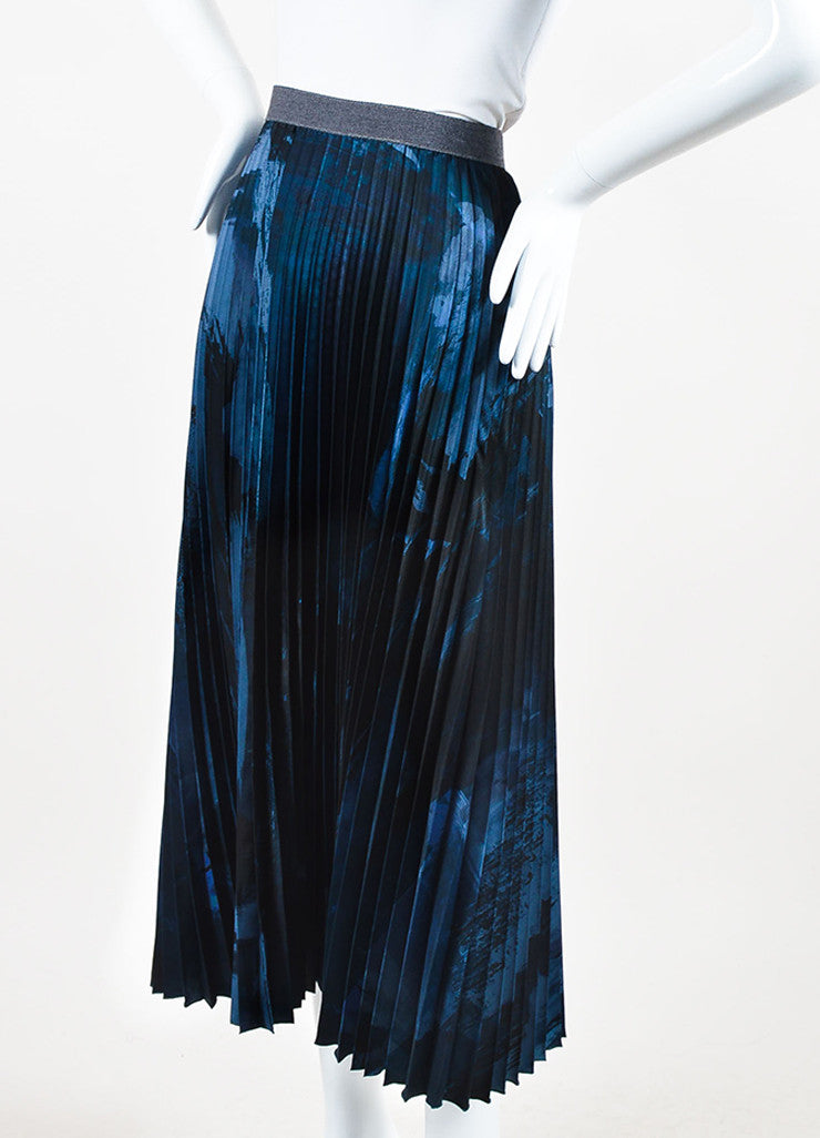 Weekend Max Mara Blue and Black Accordion Pleated Midi Skirt Sideview