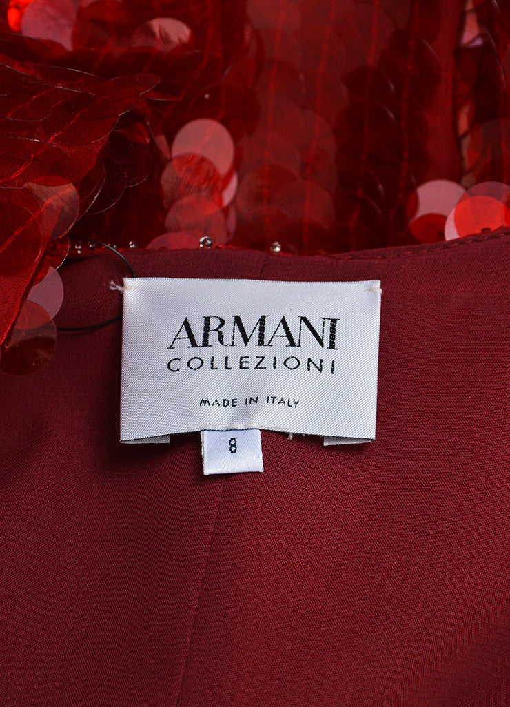 Red Armani Collezioni Sequin Paillette Snap Front Jacket Brand
