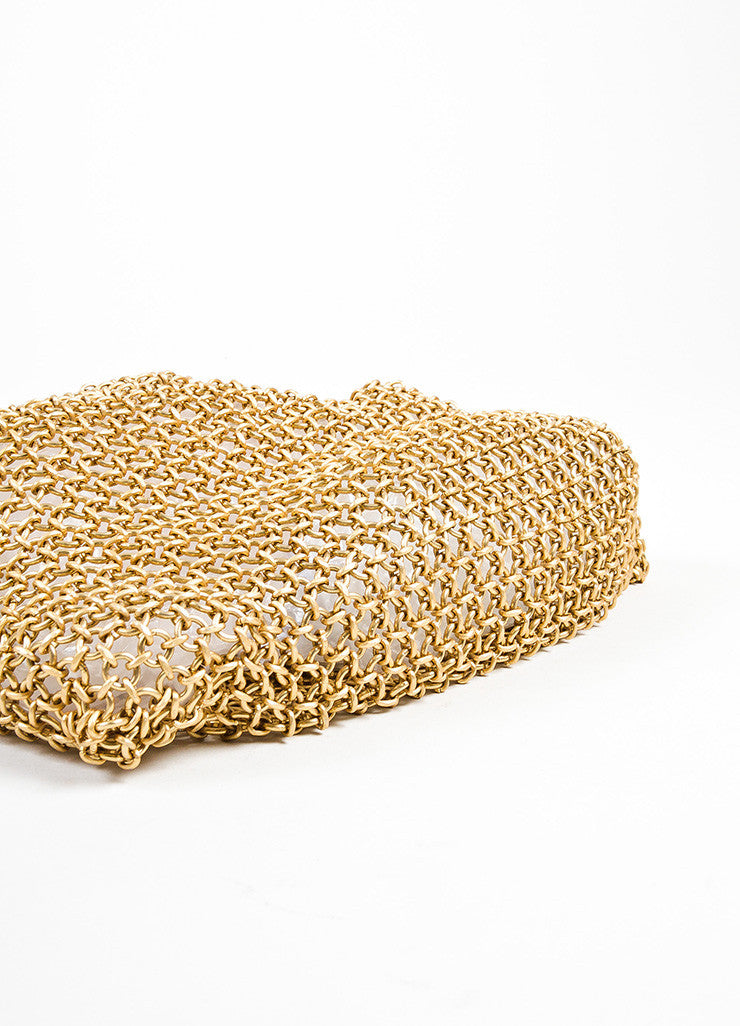 Bottega Veneta Gold Toned Chainmail Small Shoulder Bag Bottom View