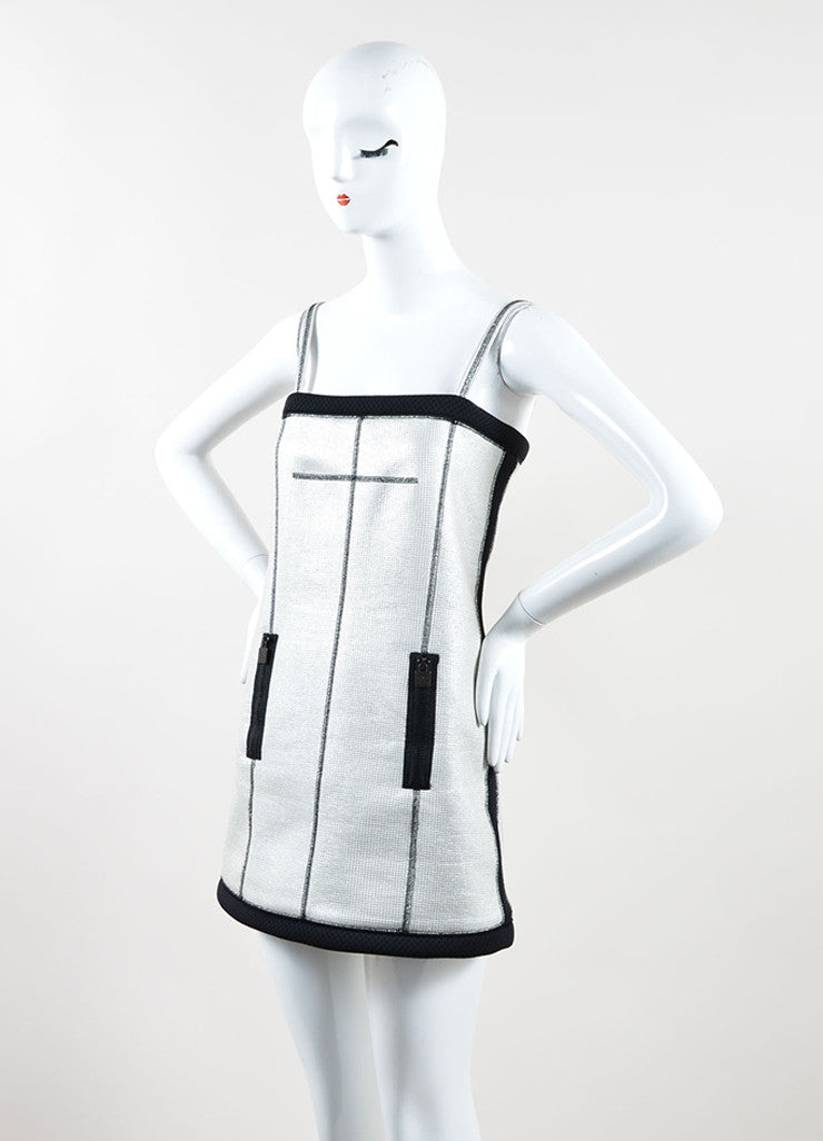 Chanel Silver and Black Metallic Woven Mesh Sporty Sleeveless Dress Sideview