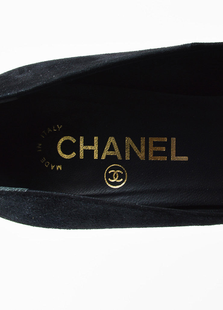 Chanel Black Suede and Patent Leather Cap Toe 'CC' Platform Pumps Brand
