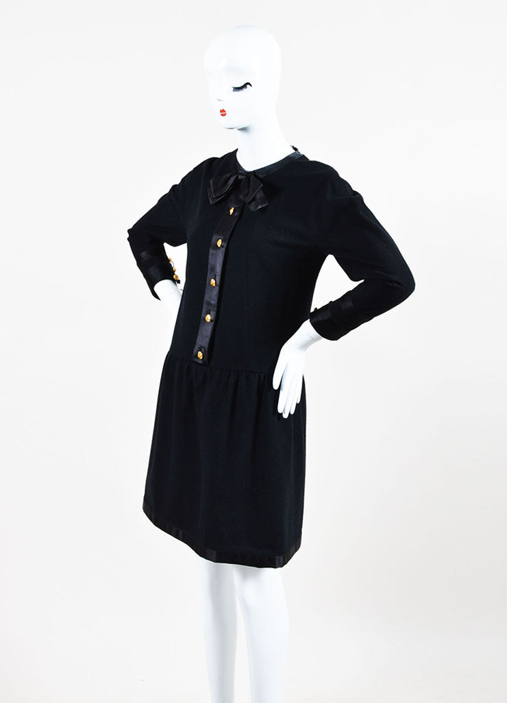Chanel Black and Gold Toned Flower Button Front Bow Neck Drop Waist Long Sleeve Dress Sideview