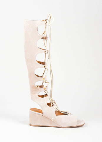 Beige Chloe Suede Lace Up Knee High Gladiator Wedge Sandals Sideview