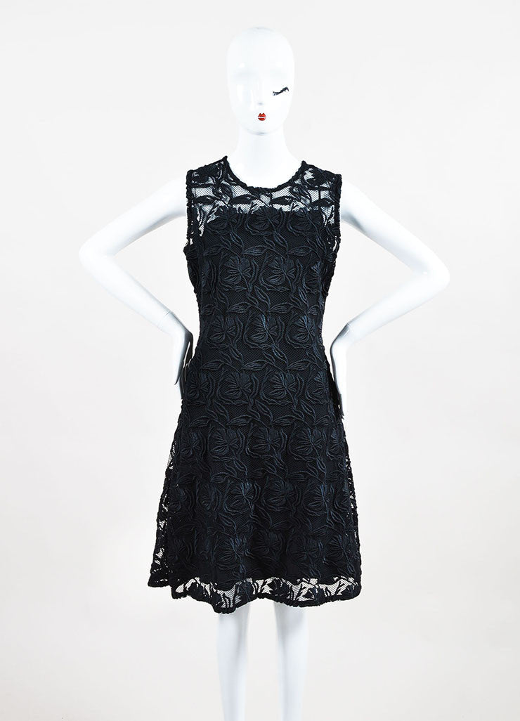 "Christian Dior ""Nero"" Black Floral Guipure Flared Cocktail Dress Front 2"