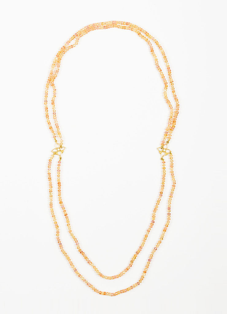 22K Yellow Gold, Topaz, and Diamond Denise Betesh Two Strand Beaded Necklace Frontview