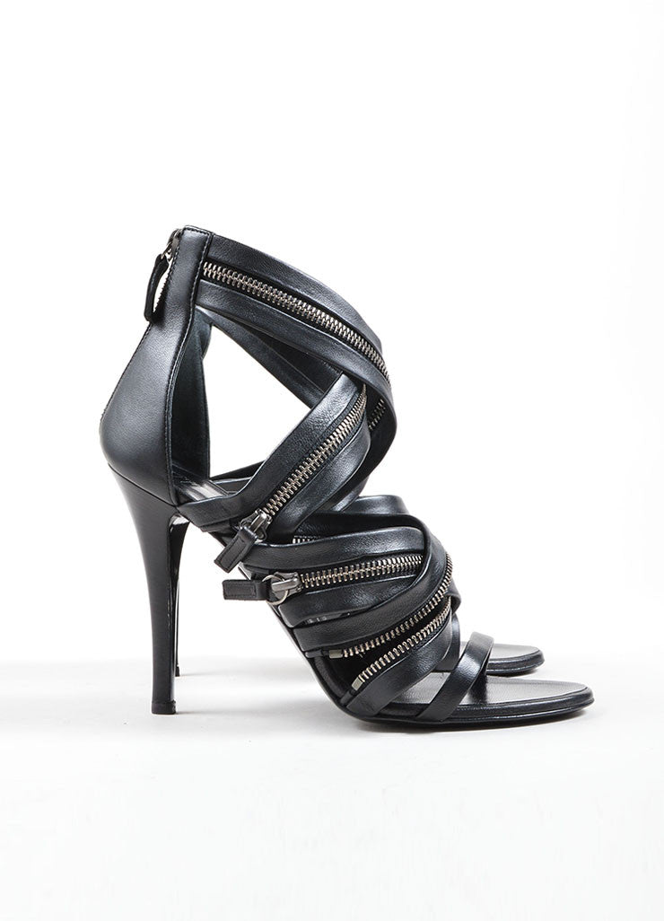 Giuseppe Zanotti for Balmain Black Leather Zipper Embellished Sandals Sideview