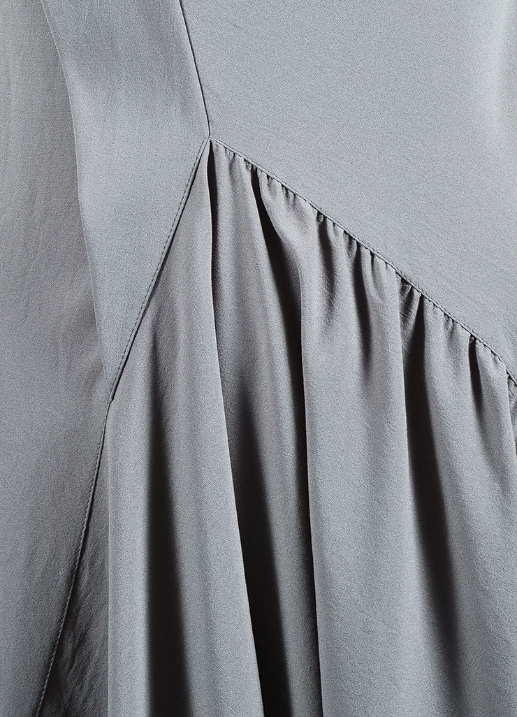 Givenchy Grey Crepe Cowl Neck Sleeveless Asymmetric Waist Pleated Dress Detail