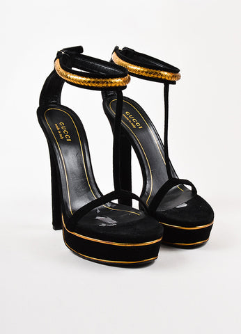 "Gucci Black and Gold Suede Genuine Python ""Leight"" T-Strap Platform Sandals Frontview"