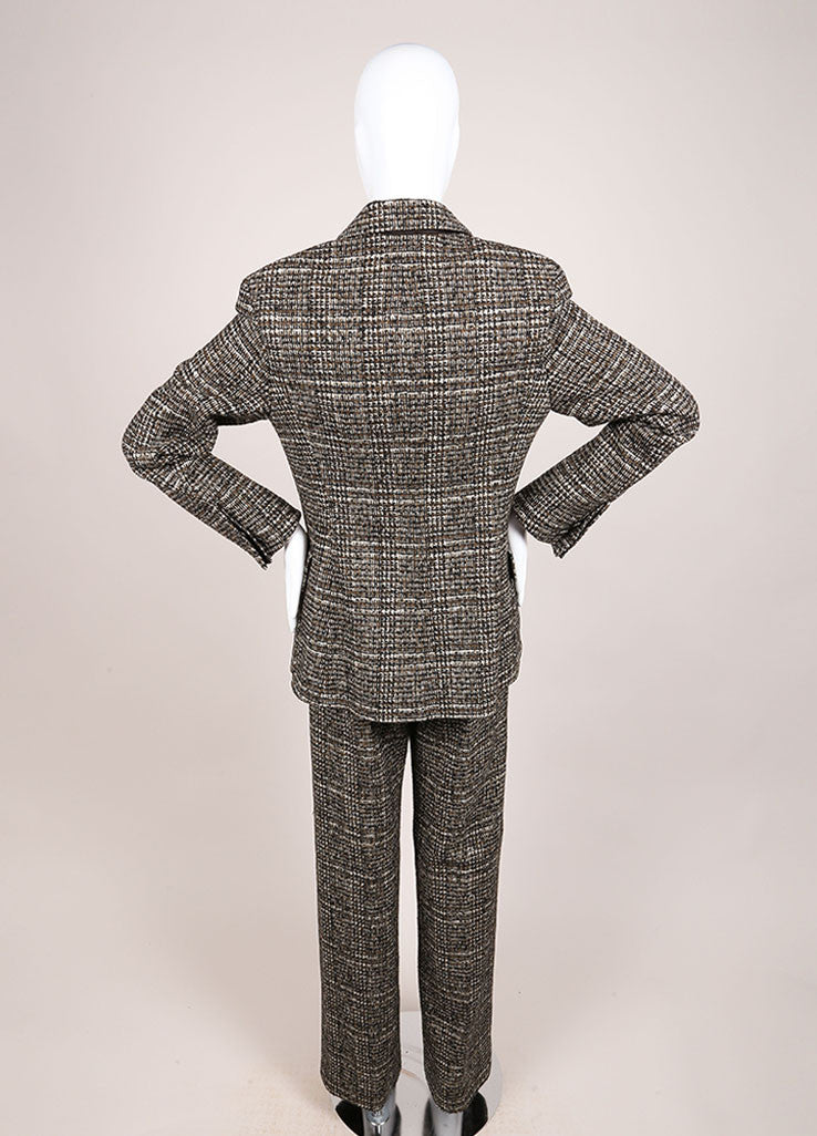 Hermes Brown and Green Cashmere, Wool, and Angora Tweed Pant Suit Backview
