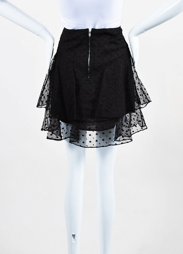"Black Isabel Marant Silk Embroidered ""Vadim"" Tiered Ruffle Skirt Backview"