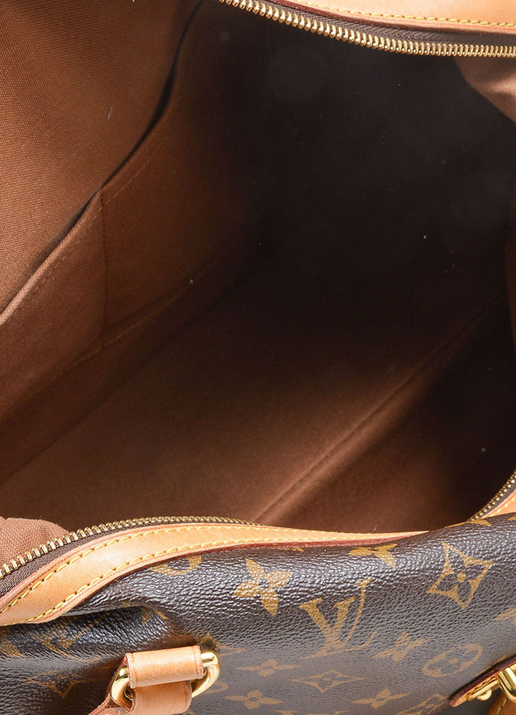 "Brown and Tan Louis Vuitton Coated Canvas and Leather Monogram ""Stresa GM"" Bag Interior"
