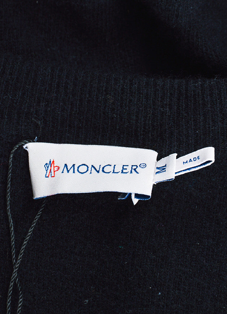 Moncler Black Wool and Nylon Feather Filled Trim Cardigan Brand
