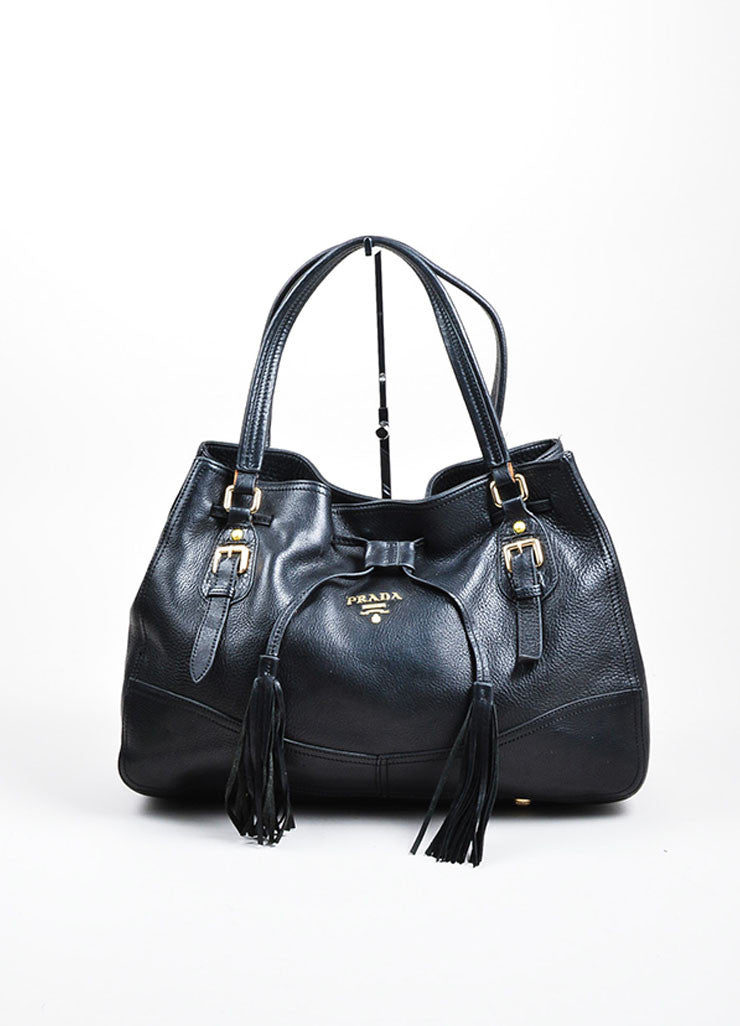 "Black Leather Prada ""Cervo Antik"" Drawstring Tassel Slouchy Carryall Tote Bag Frontview"