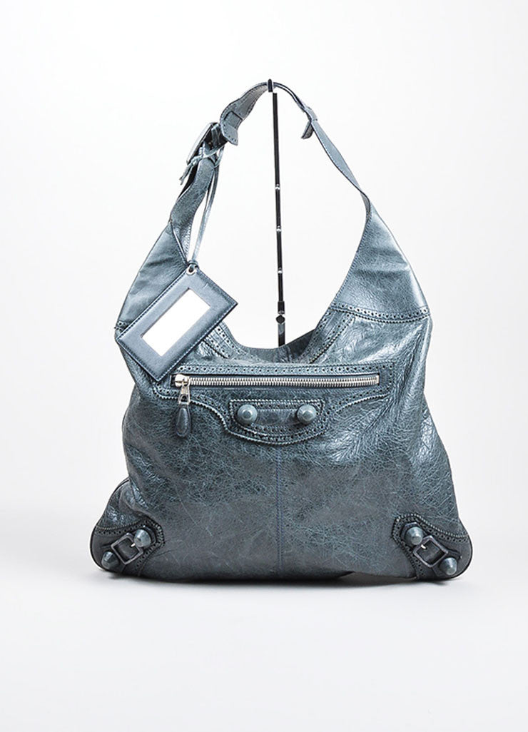 "Dusty Green Leather Balenciaga ""Covered Giant Messenger"" Hobo Bag Frontview"