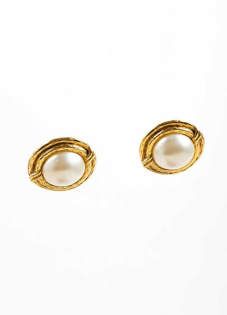 Chanel Gold Toned and White Faux Pearl Round Earrings Frontview