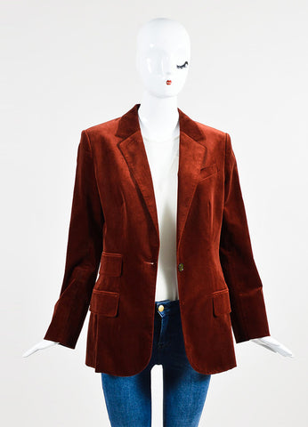 Hermes Rust Cotton Velvet One Button Long Tailored Blazer Frontview