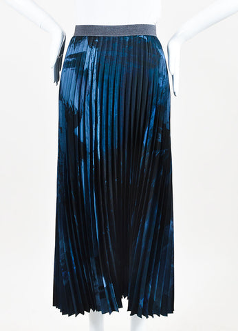 Weekend Max Mara Blue and Black Accordion Pleated Midi Skirt Frontview