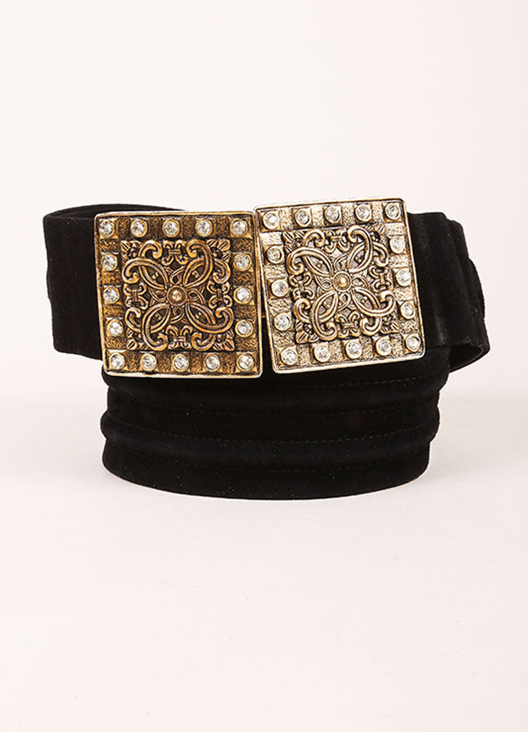 Yves Saint Laurent Black and Brass Toned Suede Rhinestone Plate Belt Frontview
