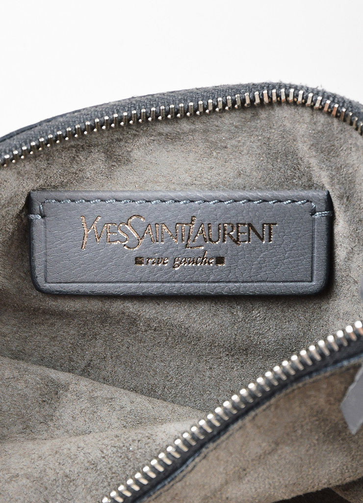 "Yves Saint Laurent Grey Leather Stingray Handle ""Roady"" Hobo Bag Brand"