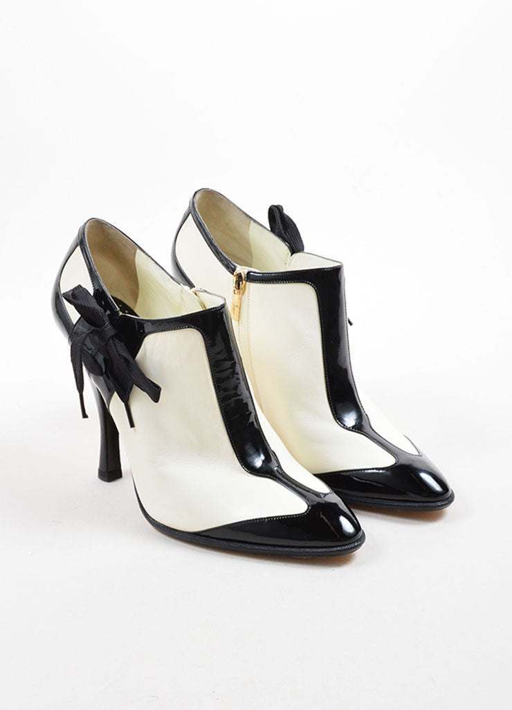 Yves Saint Laurent White & Black Leather Ankle Booties Front