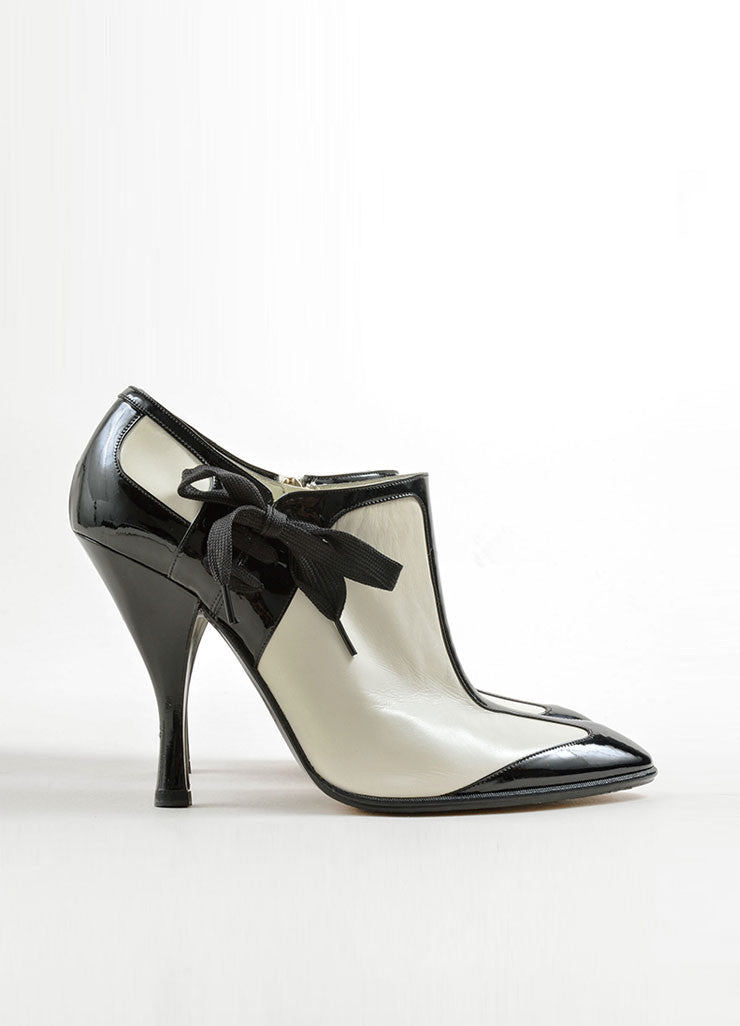 Yves Saint Laurent White & Black Leather Ankle Booties Side