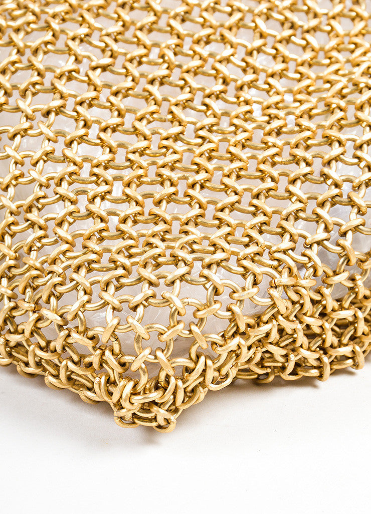 Bottega Veneta Gold Toned Chainmail Small Shoulder Bag Detail