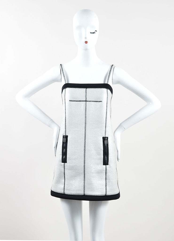 Chanel Silver and Black Metallic Woven Mesh Sporty Sleeveless Dress Frontview