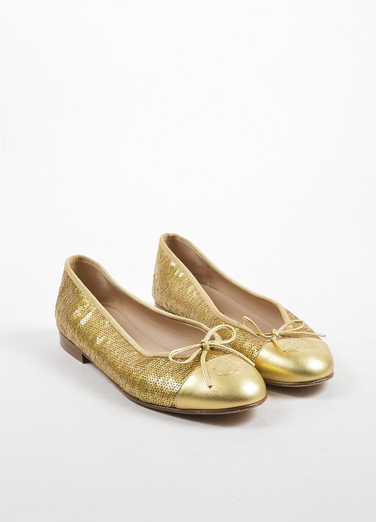 Gold Chanel Leather Cap Toe Sequin Ballet Flats Front