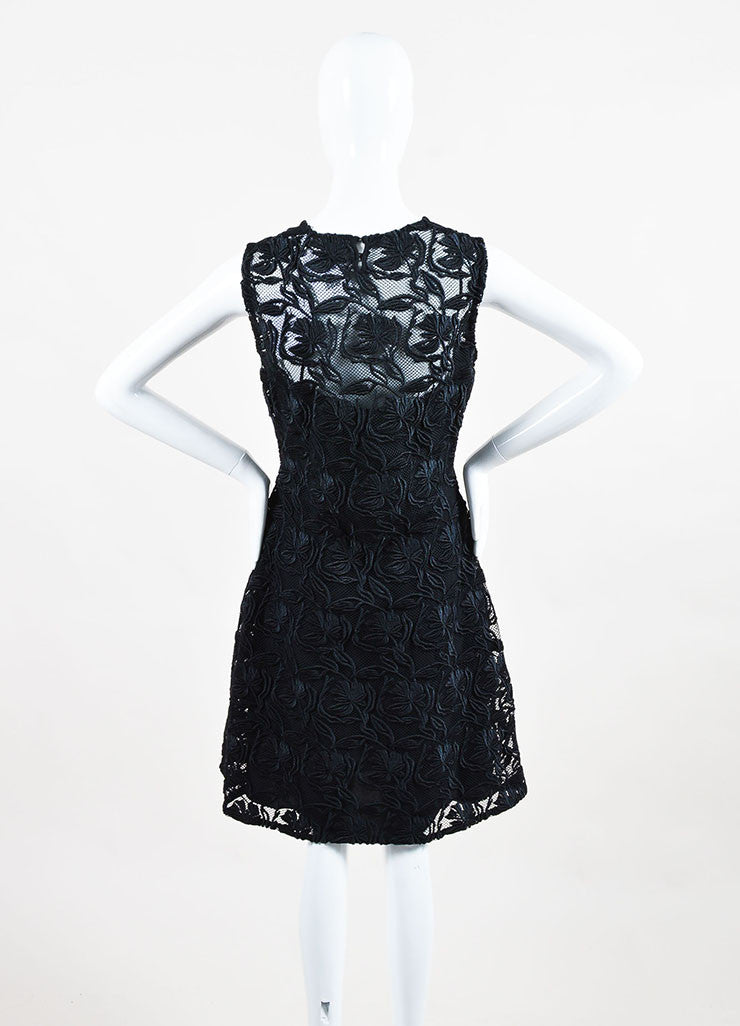 "Christian Dior ""Nero"" Black Floral Guipure Flared Cocktail Dress Back"