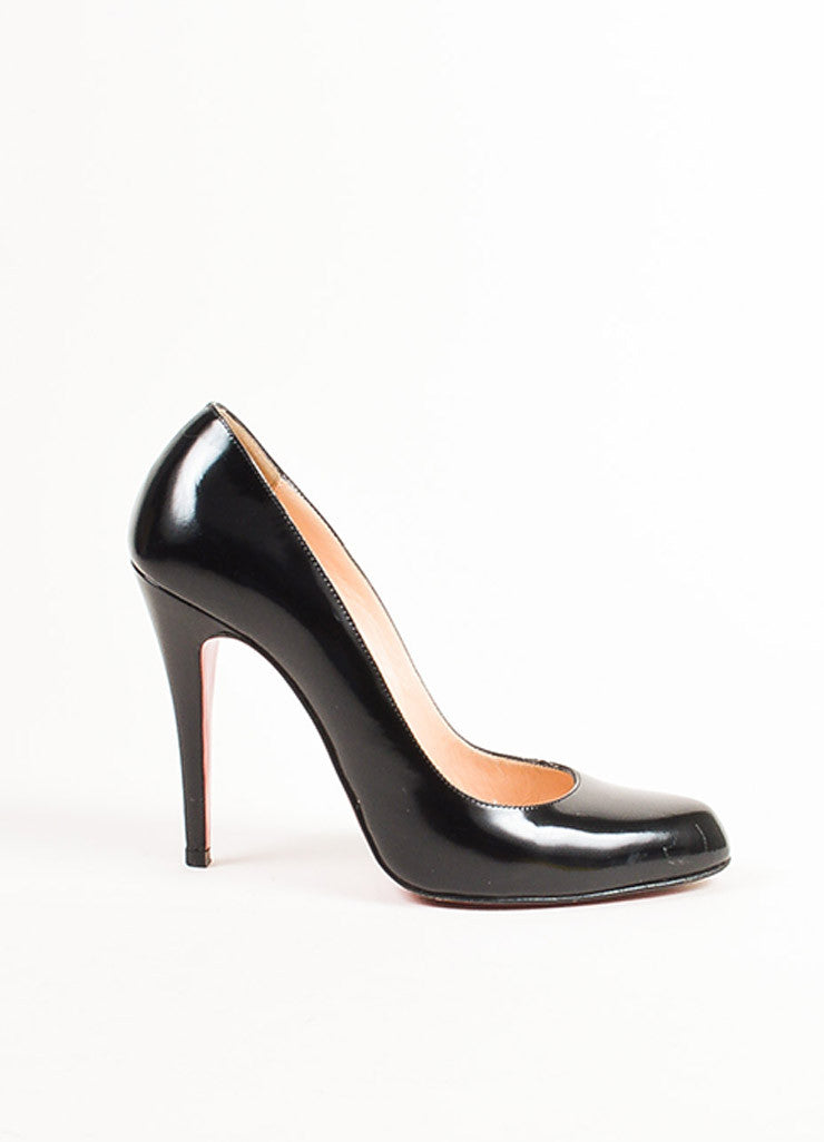 "Christian Louboutin Black Patent Leather Pointed ""Decolette 868"" Pumps Sideview"