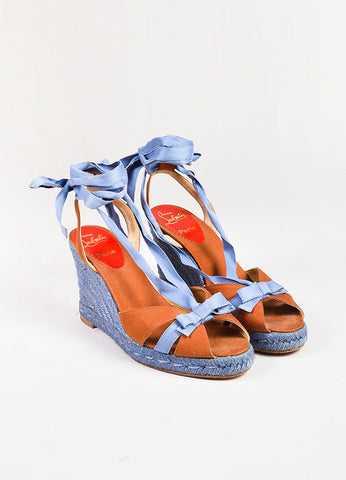 Christian Louboutin Blue Cognac Canvas Bow Strappy Espadrille Wedges Frontview