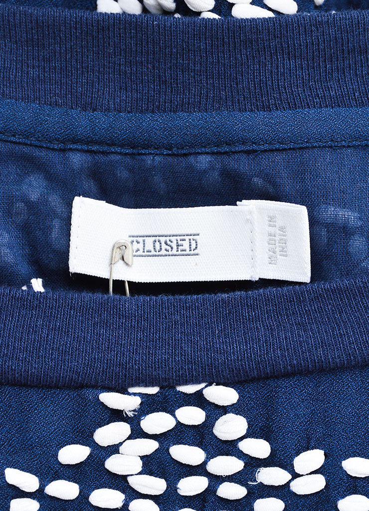 Closed Navy and White Textured Dot Pull Over Sweater Brand