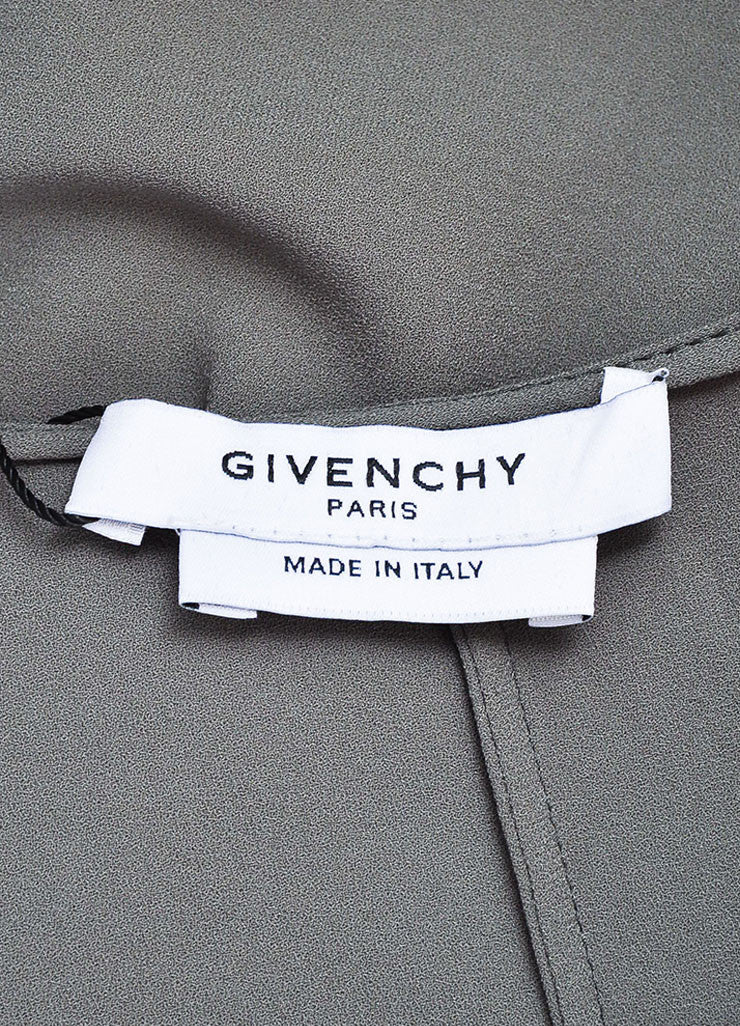 Givenchy Grey Crepe Cowl Neck Sleeveless Asymmetric Waist Pleated Dress Brand