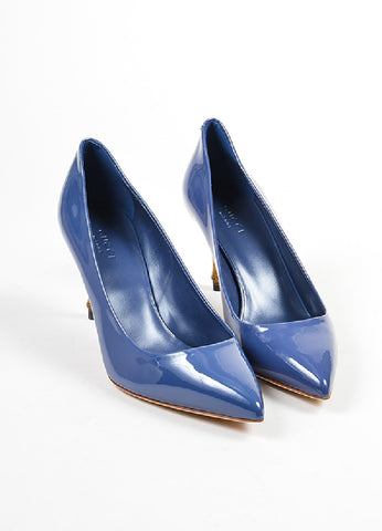 "Blue Gucci Patent Leather Pointed Toe Bamboo Heel ""Kristen"" Pumps Front"