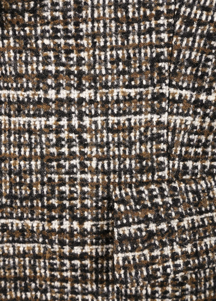 Hermes Brown and Green Cashmere, Wool, and Angora Tweed Pant Suit Detail