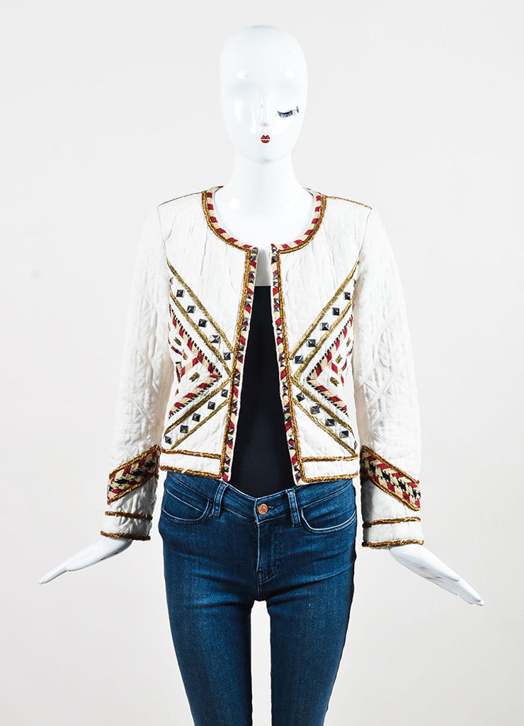"isabel Marant Cream and Red Twill Quilted Embroidered ""Hippo"" Jacket Frontview"
