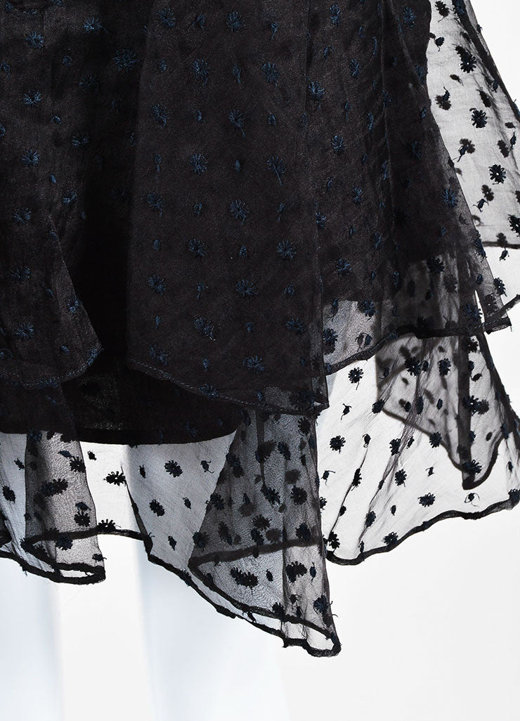 "Black Isabel Marant Silk Embroidered ""Vadim"" Tiered Ruffle Skirt Detail"